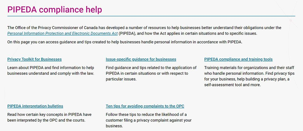 PIPEDA compliance help page