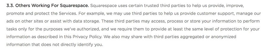 Squarespace Privacy Policy: Third parties working for Squarespace clause