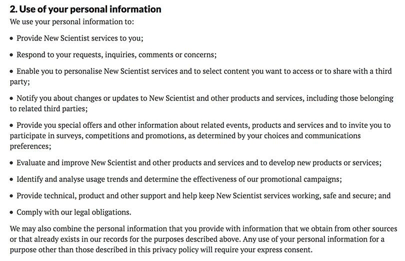 The New Scientist Privacy Policy: Use of your personal information clause