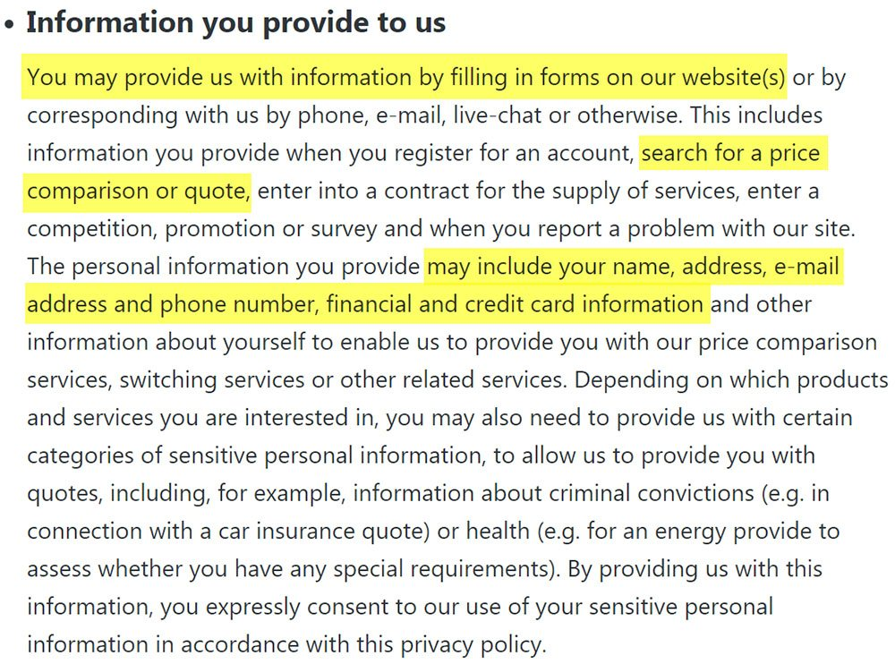 Privacy Policy of uSwitch: Information You Provide Clause