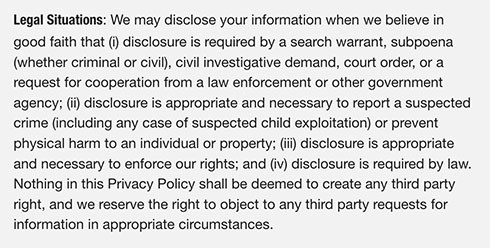 Vimeo Privacy Policy: Legal Situations clause