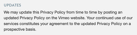 Vimeo's Updates to Privacy Policy clause