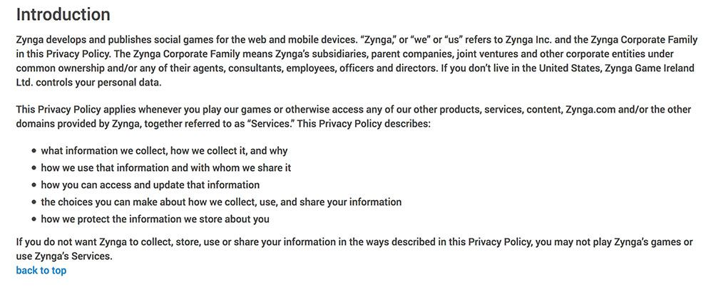 Zynga Privacy Policy Introduction clause