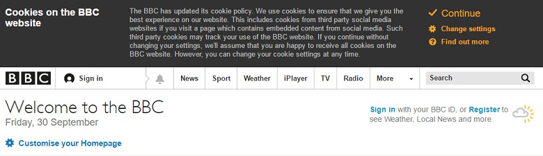 BBC: Example of Cookies Notification