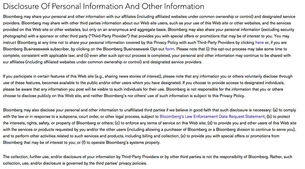 Privacy Policy of Bloomberg: Clause explaining personal data disclosure with affiliates