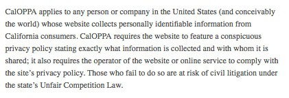 CalOPPA clause requiring conspicuously posted Privacy Policy