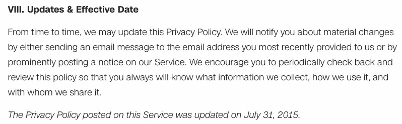Screenshot of CNN's Privacy Policy Updates and Effective Date Clause