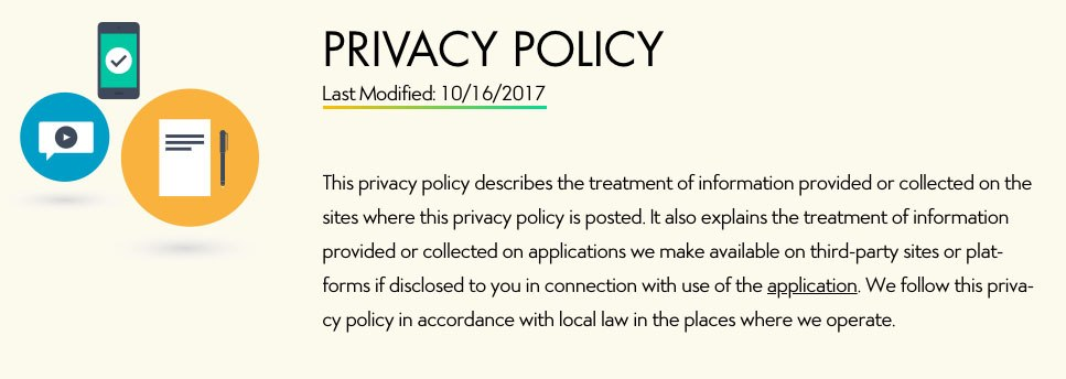 Screenshot showing last modified date of Disney's Privacy Policy as of October 16, 2017