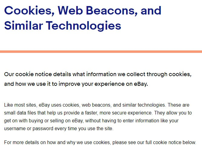 ebays cookies web beacons and similar technologies policy intro