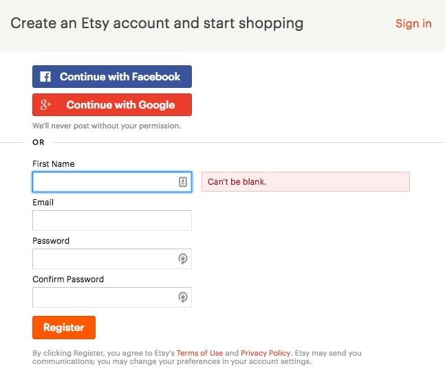 Etsy's Create an account form
