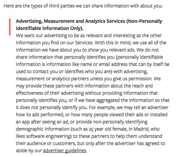 Facebook Privacy Policy: Advertising, Measurement and Analytics Services clause