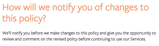 Facebook Privacy Policy: Notification of changes to policy clause