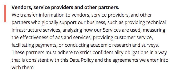 Facebook Privacy Policy: Vendors, service providers and other partners clause