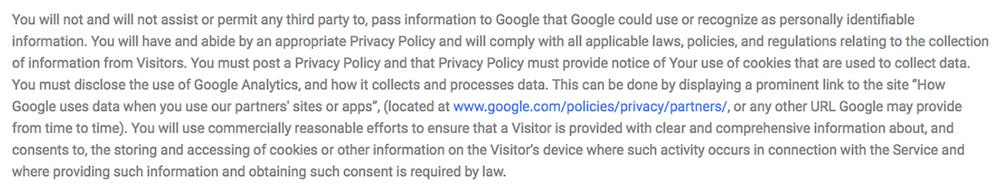 Screenshot of Google Analytics' Terms of Service that Require a Privacy Policy