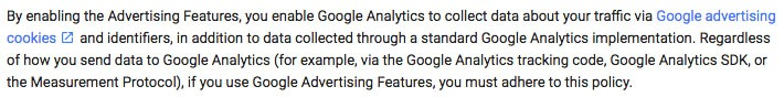 Google's Policy Requirement for Analytics mentioning data collection