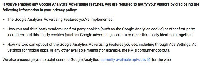 Google's Policy Requirement for Analytics mentioning a privacy policy and notification requirement