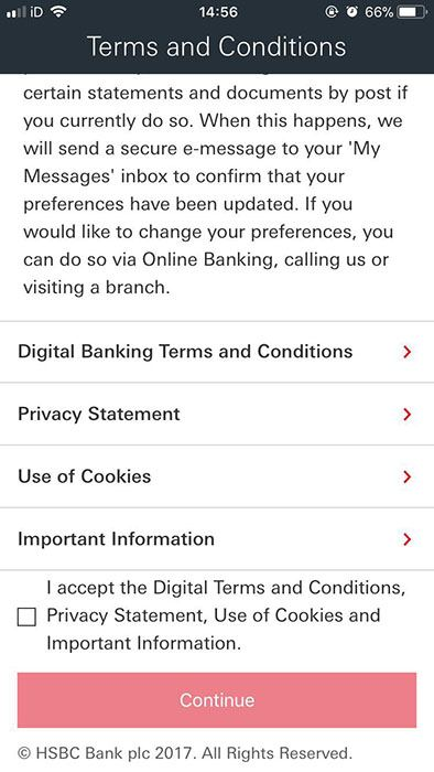 Screenshot of HSBC App Clickwrap Agreement