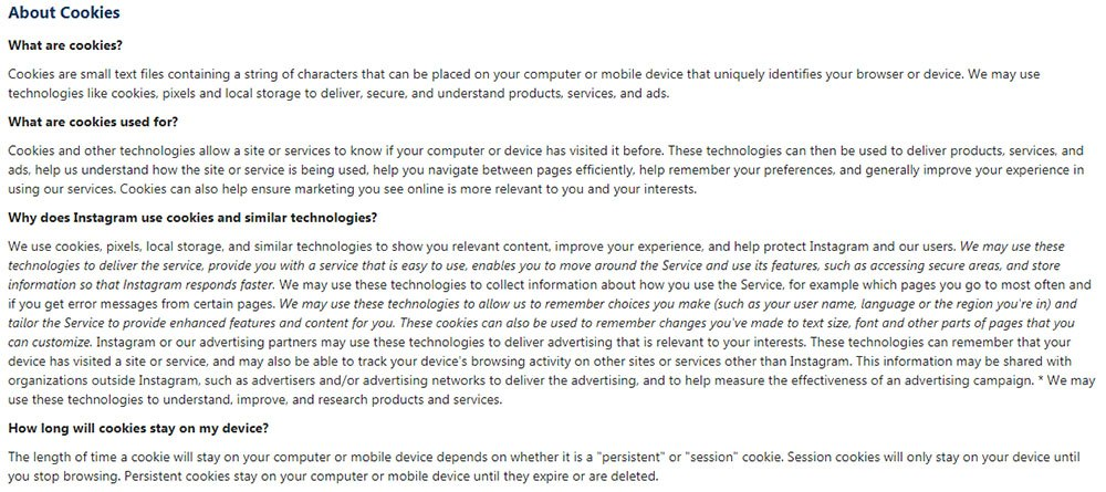 Instagram Cookies Policy: About Cookies clauses