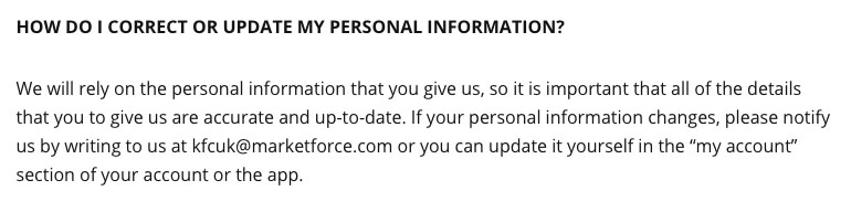Screenshot of KFC's Privacy Policy Data Updates Clause