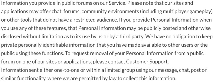 Linden Labs Privacy Policy - Public Forums Clause