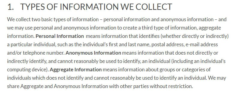 Linden Labs Privacy Policy: Types of Information collected and used clause
