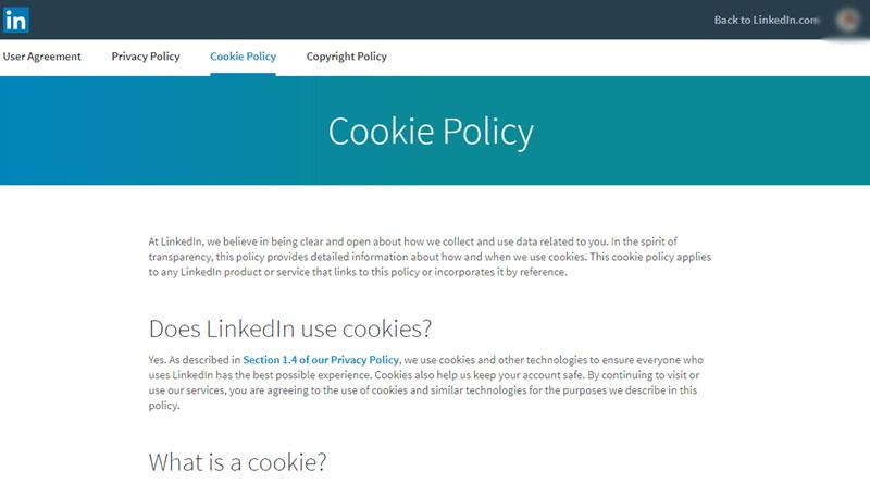 screenshot of linkedins cookie policy intro