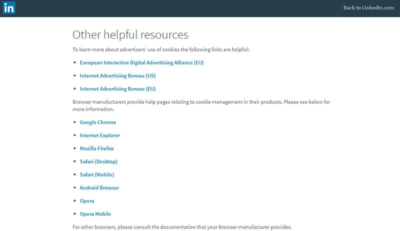 LinkedIn Cookies Policy: Other Helpful Resources links list
