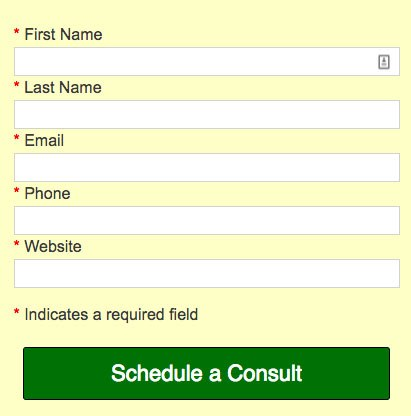 Main Street ROI's information request form for scheduling a consult
