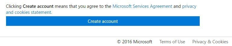 Microsoft: Create Account button clicking means you agree to Policies