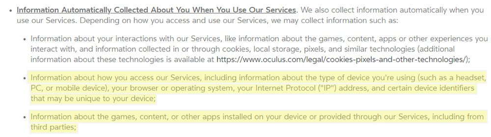 Oculus Privacy Policy: Information Automatically Collected - Device identifiers, other apps clause
