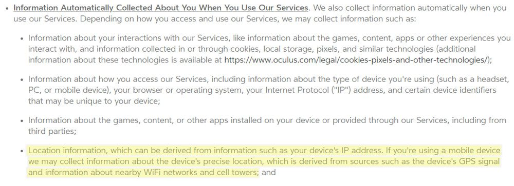 Oculus Privacy Policy: Information Automatically Collected - location information clause