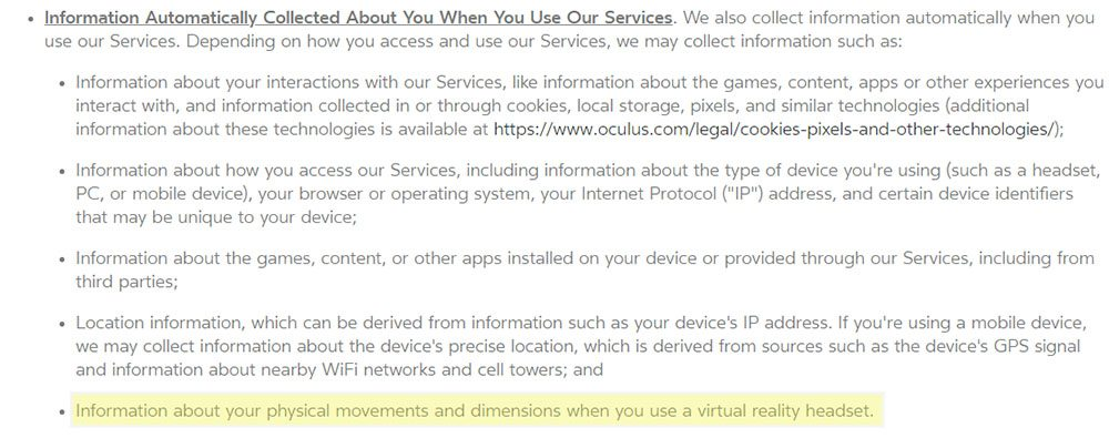 Oculus Privacy Policy: Information Automatically Collected - physical movements and dimensions clause