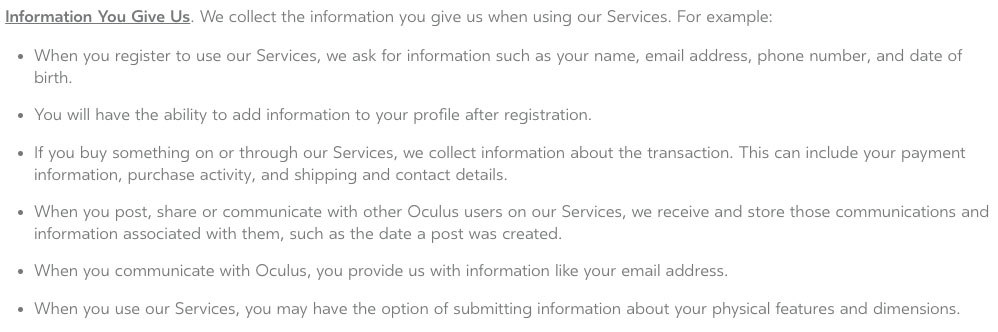 Oculus Privacy Policy: Information You Give Us clause