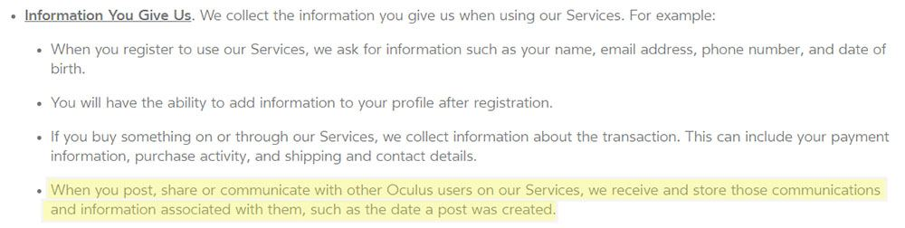 Oculus Privacy Policy: Information You Give Us - Communications with other users clause