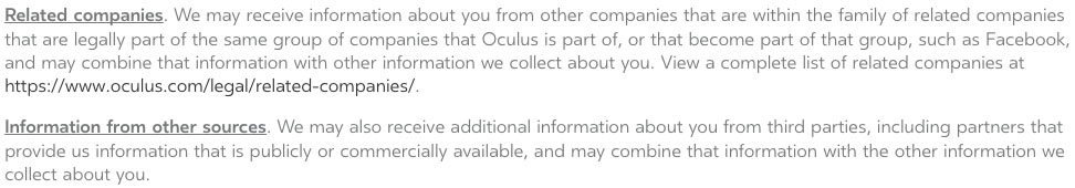 Oculus Privacy Policy: Third Parties clause