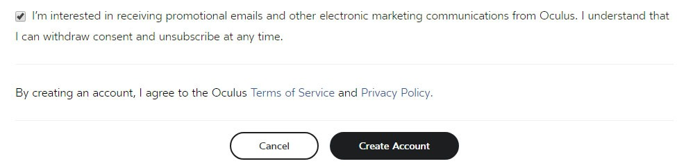 Oculus user sign-up form with Create Account button and links to Privacy Policy and Terms