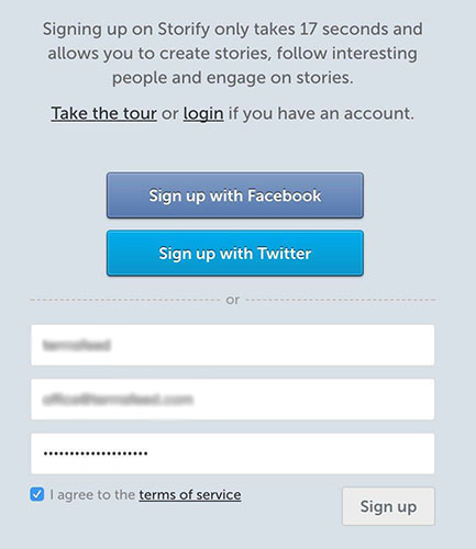 Storify Sign up Screen with I Agree to Terms of Service clickwrap