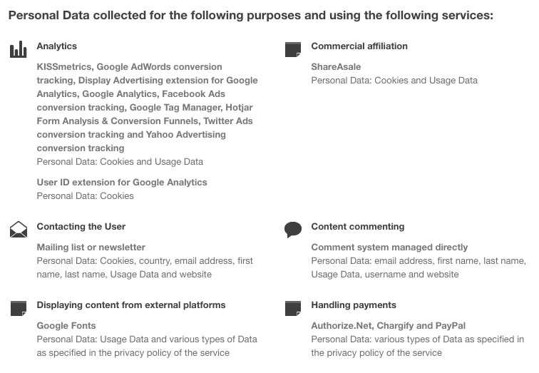 Screenshot of StudioPress Privacy Policy Showing Purposes of Personal Data Collected