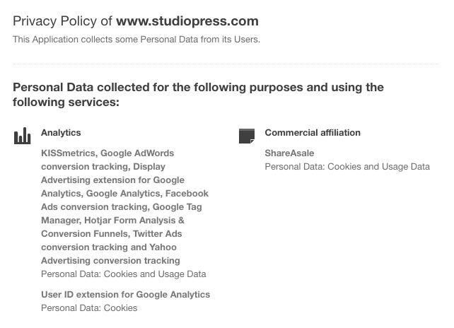 Screenshot of StudioPress Privacy Policy Clause Showing Purpose of Data Collecting for Analytics and Commercial Affiliation Data