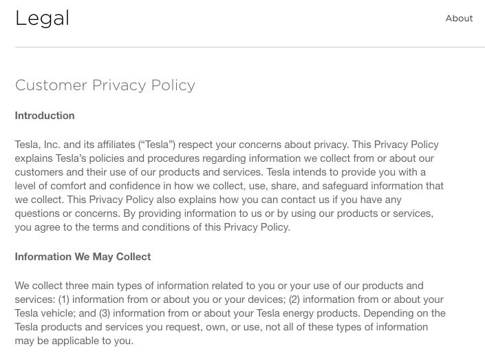 Screenshot of Tesla's Legal Page with Customer Privacy Policy Clauses