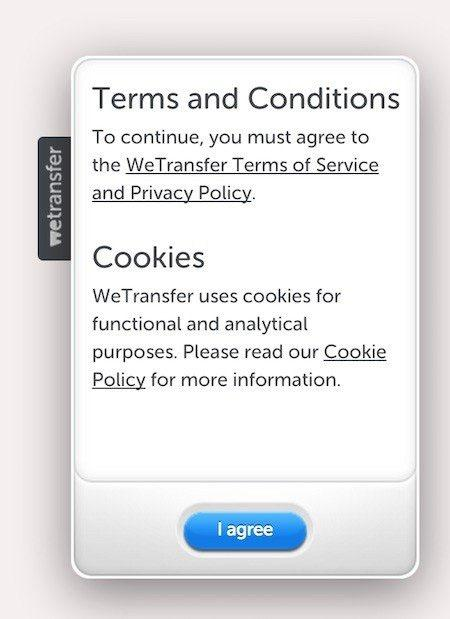 WeTransfer: I agree button