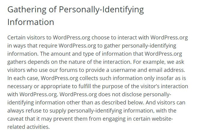 wordpress-privacy-policy-gathering-personal-identifying-information-clause
