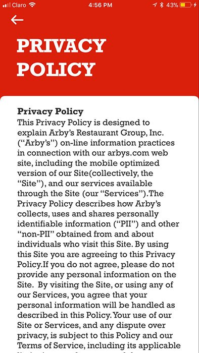 Arby's mobile app Privacy Policy: Intro clause using browsewrap