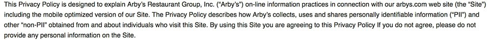 Arby's Privacy Policy: Intro clause using browsewrap