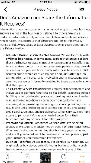 Audible mobile app: Amazon Privacy Notice - Does Amazon.com Share the Information It Receives clause