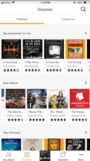 Audible mobile app: Discover page screenshot