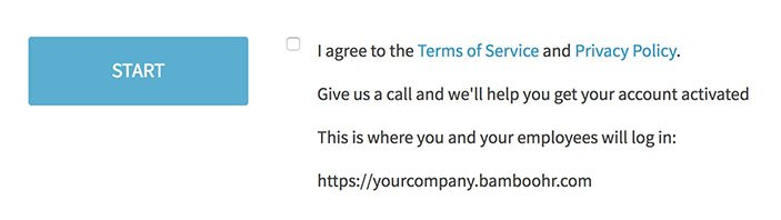 Bamboo HR sign-up form using clickwrap checkbox to agree to Terms and Privacy Policy