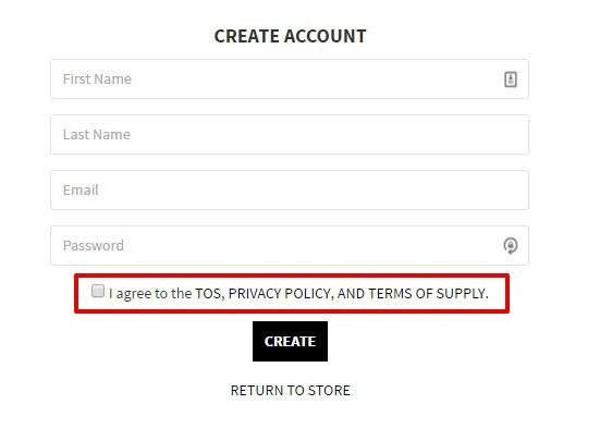 Blackmill store registration: Clickwrap with ToS, Privacy and Terms of Supply