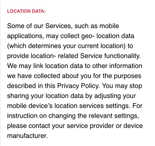 BuzzFeed Privacy Policy UK Location Data Clause