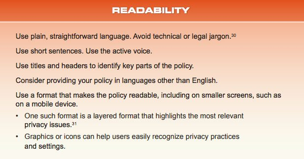 California Attorney General Guide Readability Recommendations summary